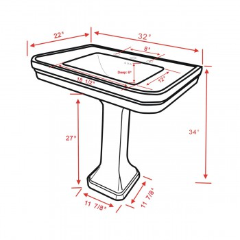 spec-<PRE>Large Black Victorian Widespread Bathroom Pedestal Sink </PRE>