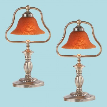 <PRE>2 Table Lamp Amber Antique Brass Lamp 17inchH </PRE>zoom2