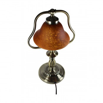<PRE>2 Table Lamp Amber Antique Brass Lamp 17inchH </PRE>zoom4
