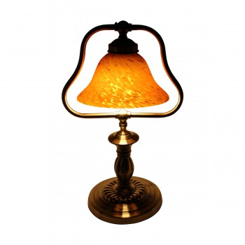 <PRE>2 Table Lamp Amber Antique Brass Lamp 17inchH </PRE>zoom5