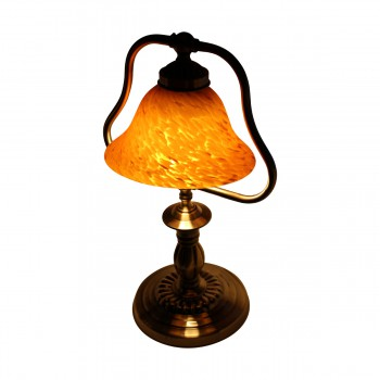 <PRE>2 Table Lamp Amber Antique Brass Lamp 17inchH </PRE>zoom6