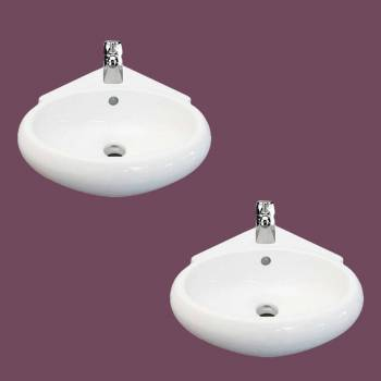 spec-<PRE>Corner Wall Mount Bathroom Sink Above Counter Vessel White Set of 2</PRE>