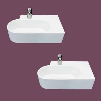 Corner Sink White Porcelain Edwin Corner Over Counter Mount Set of 2 bathroom vessel sinks Countertop vessel sink efficient porcelain ceramic  cloakroom