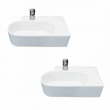 <PRE>Corner Sink White Vitreous China Edwin Corner Over Counter Mount Set of 2</PRE>zoom1
