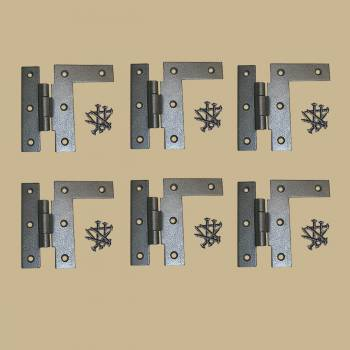 <PRE>6 Cabinet Hinges Wrought Iron HL Right Only 3.5inchH w/ Offset </PRE>zoom2