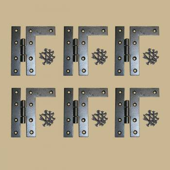 6 Cabinet Hinges Wrought Iron Black Flush Right Only 4.5H Door Hinges Door Hinge Solid Brass Hinge