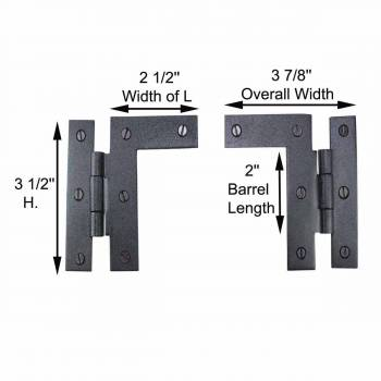 spec-<PRE>Pair Left and Right H-L Wrought Iron Cabinet Hinge 3.5&quot; H, 3/8&quot; Offset Pack of 2</PRE>