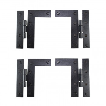 Pair Flush H-L Cabinet Hinge Wrought Iron 4.5