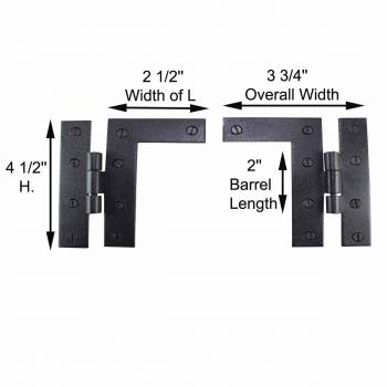 spec-<PRE>Pair Flush H-L Cabinet Hinge Wrought Iron 4.5&quot;H Pack of 2 </PRE>