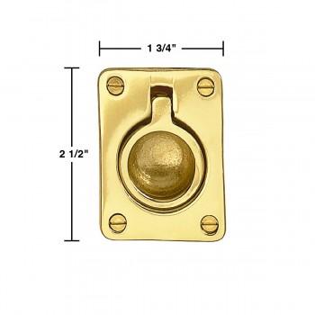 spec-<PRE>Cabinet Pull Bright Solid Brass Ring </PRE>
