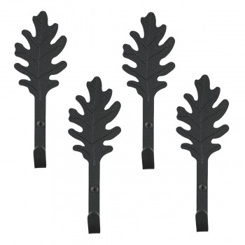 <PRE>4 Black Hooks Wrought Iron Leaf Shape Black  </PRE>zoom1