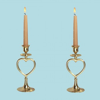 <PRE>2 Bright Brass Heart Candlestick Holder 8&quot;H Set of 2 </PRE>