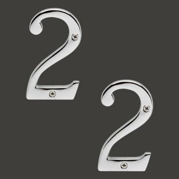 <PRE>Cast Solid Brass 3 7/8inch Address House Number '2' Chrome Set of 2</PRE>zoom2