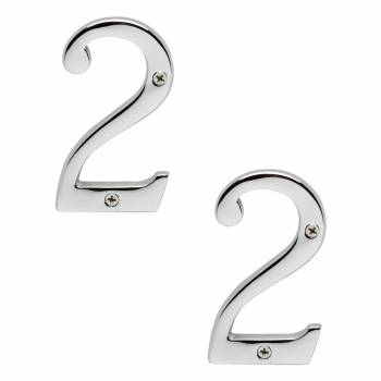 <PRE>Cast Solid Brass 3 7/8inch Address House Number '2' Chrome Set of 2</PRE>zoom1