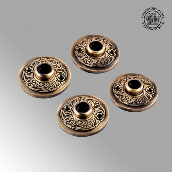 Pair Victorian Rosette Cast Antique Brass 2 7/16