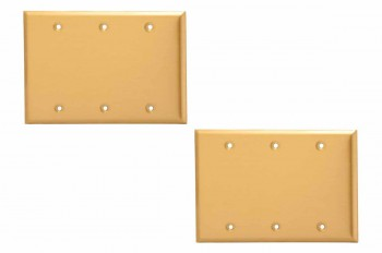 2 Switchplate Brushed Brass Beveled Triple Blank Switch Plate Wall Plates Switch Plates