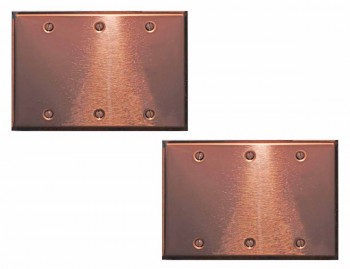 2 Switchplate Bright Copper Triple Blank Switch Plate Wall Plates Switch Plates