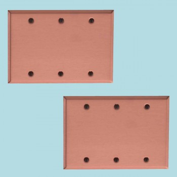 <PRE>2 Switchplate Brushed Solid Copper Triple Blank </PRE>zoom2