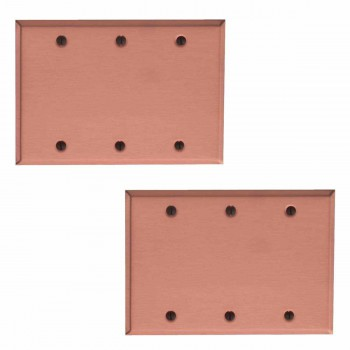<PRE>2 Switchplate Brushed Solid Copper Triple Blank </PRE>zoom1