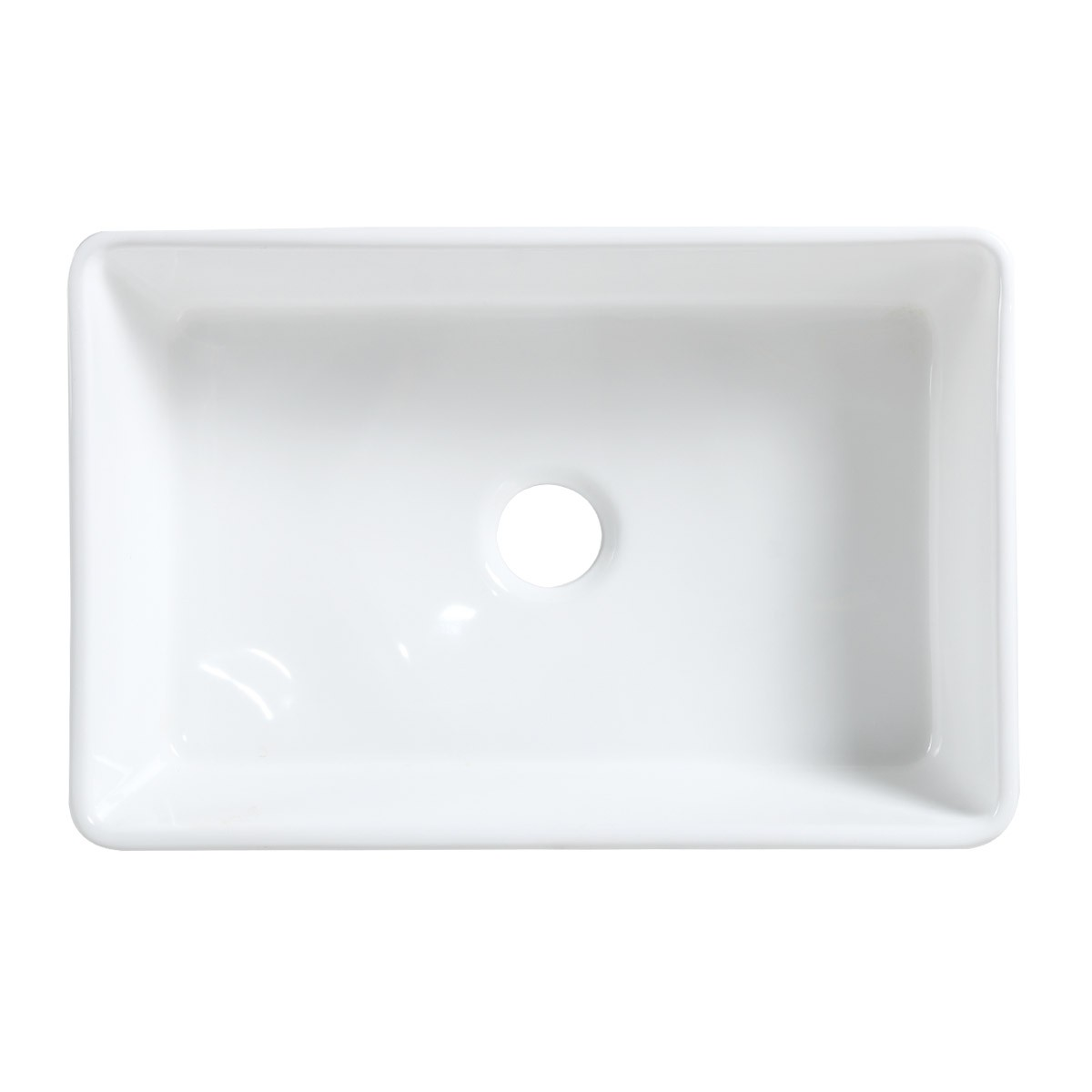 Renovators Supply 30 Farmhouse Kitchen Sink White Glossy Finish With Drain 30 Inch Farmhouse Farm House Kitchen Sink Rectangular Drop In Recessed Apron Front Counter Top High Quality Single Basin