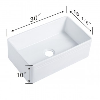 spec-<PRE>30&quot; Large White Kitchen Farmhouse Sink Grade A Vitreous China Gloss Finish</PRE>