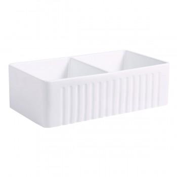 <PRE>33inch X 10&quot; Large White Porcelain Kitchen Farmhouse Sink Double Basin Gloss</PRE>zoom4