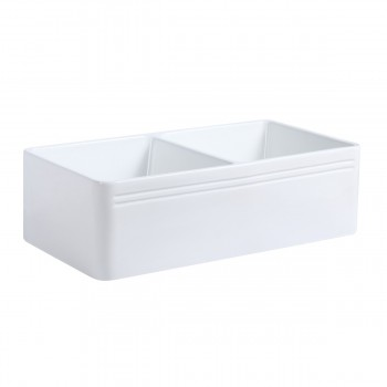 33 X 10 Large White Porcelain Kitchen Farmhouse Sink Double Basin Gloss