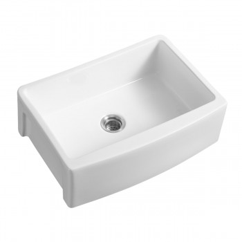 Round Apron Farmhouse Sink White Grade A Porcelain Includes Drain  28941grid