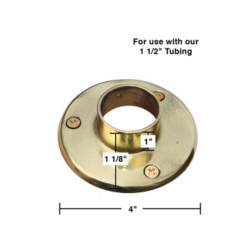 spec-<PRE>Solid Brass 4&quot; Wall Flange Fitting 1.5&quot; Bar Rail </PRE>