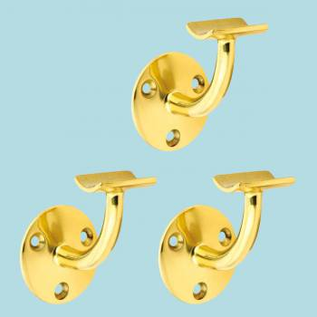 3 Bar Rail Brackets Lacquered Brass Armrest Holder Set of 3 Bar Bracket Bar Hardware Mounting Brackets