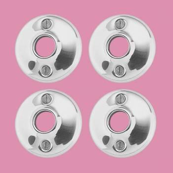 4 Pair Door Knob Rosettes Bright Chrome Colonial 2.5D Door Hardware Door Knob Roses Door Knob Back Plates