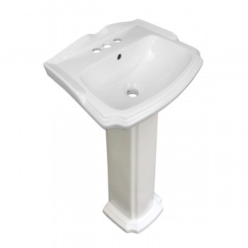 Small White Pedestal Bathroom Sink with Chrome Faucet, Drain and PTrap Traditional Colonial Small Space Saving Petite Narrow Fancy Elegant White Centerset Overflow Single Basin Mini Bathroom Pedestal Vessel Sink