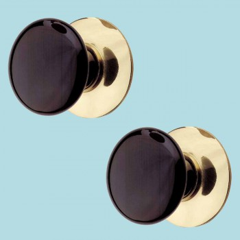 <PRE>2 Cabinet Knob Black Porcelain Solid Brass Backplate </PRE>zoom2