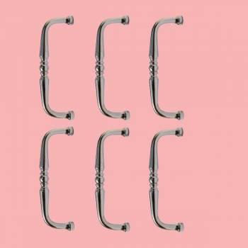 6 Cabinet Pulls Nickel Plated Spooled 3.5 Inch Boring Furniture Hardware Cabinet Pull Cabinet Hardware