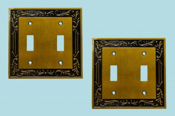 2 Victorian Switch Plate Double Toggle Antique Solid Brass Switch Plate Wall Plates Switch Plates