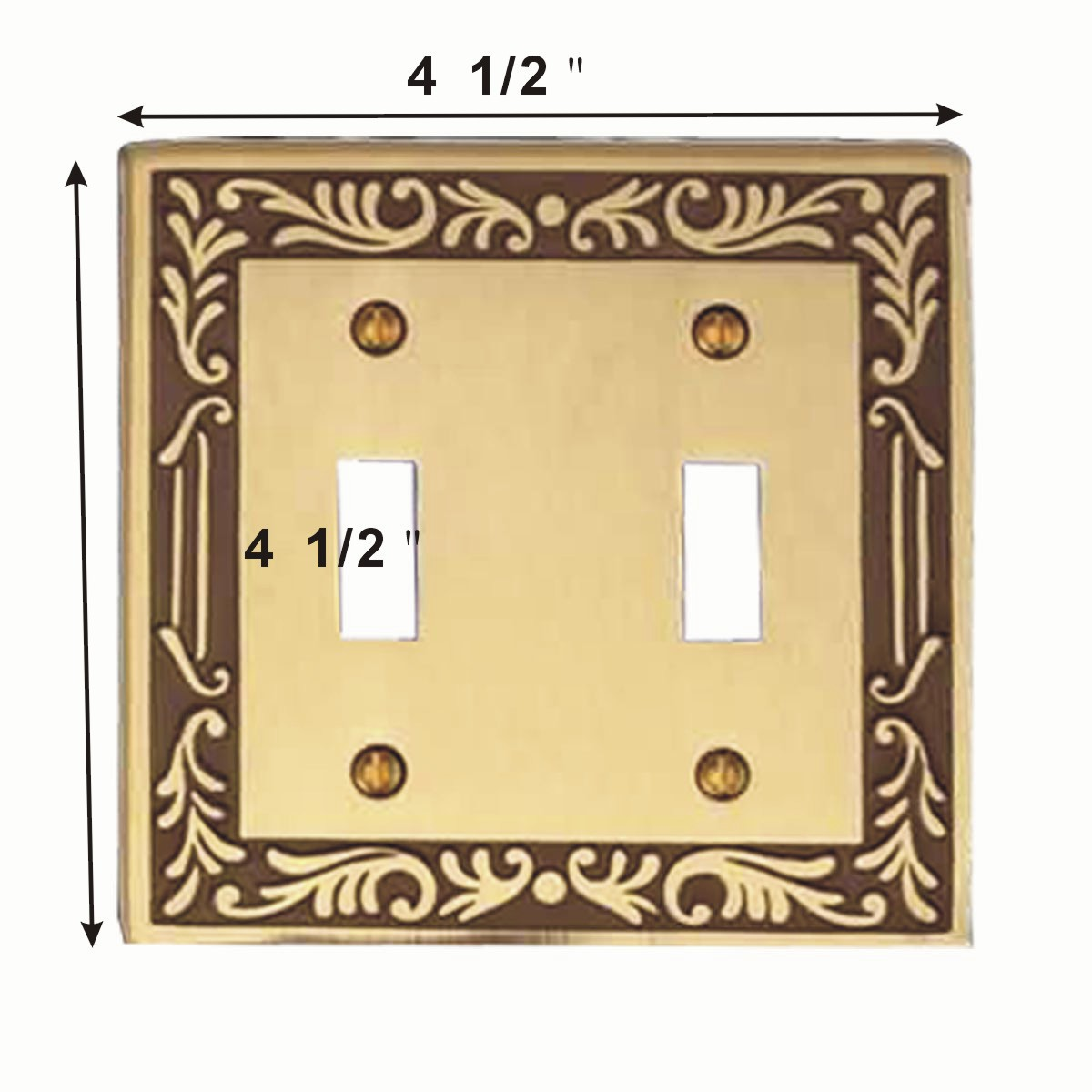 2 Victorian Switch Plate Double Toggle Antique Solid Brass