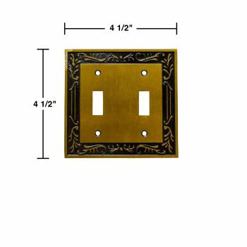 spec-<PRE>2 Victorian Switch Plate Double Toggle Antique Solid Brass </PRE>