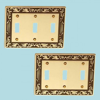 <PRE>2 Victorian Switch Plate Triple Toggle Antique Solid Brass </PRE>zoom2