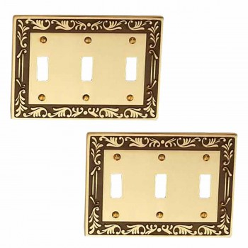 <PRE>2 Victorian Switch Plate Triple Toggle Antique Solid Brass </PRE>zoom1