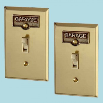 <PRE>2 Switch Plate Tags GARAGE Name Signs Labels Antique Brass </PRE>zoom2