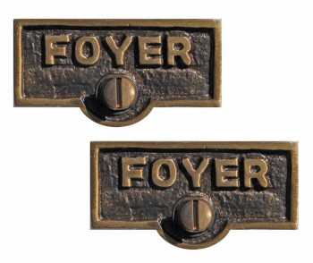 <PRE>2 Switch Plate Tags FOYER Name Signs Labels Antique Brass </PRE>zoom1
