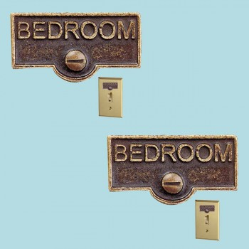 <PRE>2 Switch Plate Tags BEDROOM Name Signs Labels Antique Brass </PRE>zoom2