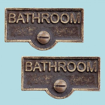<PRE>2 Switch Plate Tags BATHROOM Name Signs Labels Antique Brass </PRE>