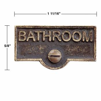 spec-<PRE>2 Switch Plate Tags BATHROOM Name Signs Labels Antique Brass </PRE>