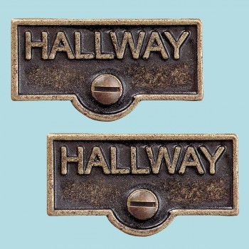 <PRE>2 Switch Plate Tags HALLWAY Name Signs Labels Antique Brass </PRE>zoom2