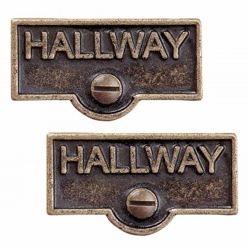 <PRE>2 Switch Plate Tags HALLWAY Name Signs Labels Antique Brass </PRE>zoom1