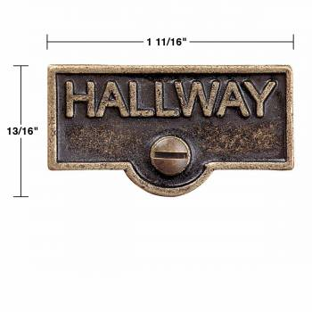 spec-<PRE>2 Switch Plate Tags HALLWAY Name Signs Labels Antique Brass </PRE>