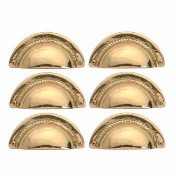 6 Bin Pull Bright Solid Brass Cup Hooded Cabinet Pull Cabinet Hardware Cabinet Pulls