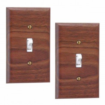 2 Walnut Single Toggle Switch Plate