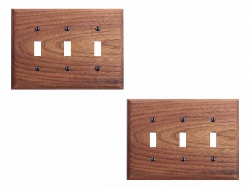 2 Walnut Triple Toggle Switch Plate